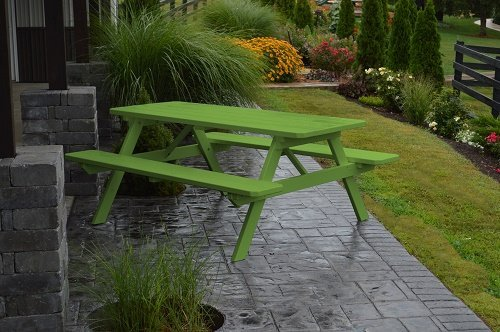 Outdoor 4 Foot Pine Picnic Table With Attached Benches - Painted- Amish Made Usa -tropical Lime