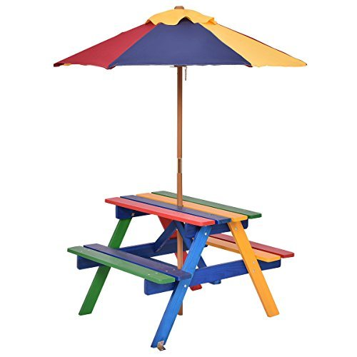 Allblessings Folding 4 Seats Kids Picnic Table wUmbrella Garden Yard Bench Outdoor For Children