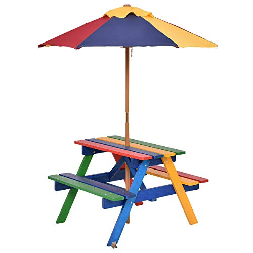 Blue Bright 4 Seat Kids Picnic Table Set with Umbrella Garden Yard Folding Children Bench Outdoor Indoor Fir Wood Multi Color
