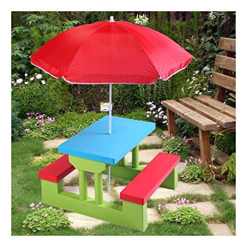 4 Seat Kids Picnic Table wUmbrella Garden Yard Folding Bench Children Outdoor