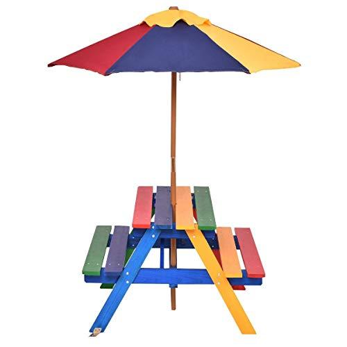 Costway 4 Seat Kids Picnic Table wUmbrella Garden Yard Folding Children Bench Outdoor