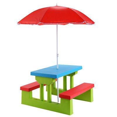 Everything Jingle Bell 4 Seat Kids Picnic Table wUmbrella Garden Yard Folding Children Bench Outdoor