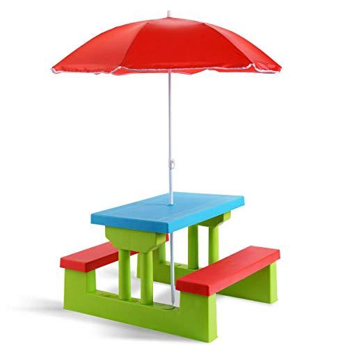 n-bright shop Kids Picnic Table Umbrella Children 4 Seat Kids Garden Yard Folding Children Bench Outdoor Indoor