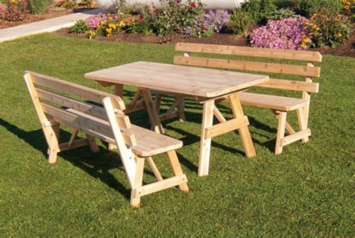 Outdoor 5 Foot Pine Picnic Table With 2 Backed Benches - Stained- Amish Made Usa -cedar