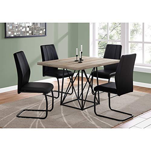 TaupeBlack Reclaimed Wood Dining Table Mid-Century Modern Rectangle Rubberwood