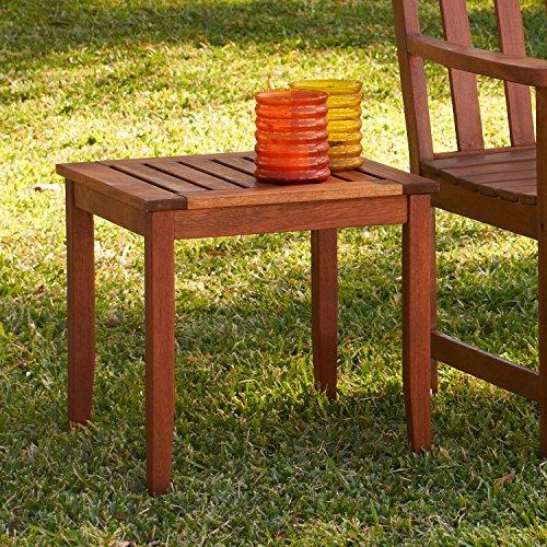 Weather Resistant Hardwood End Table - Dark Brown