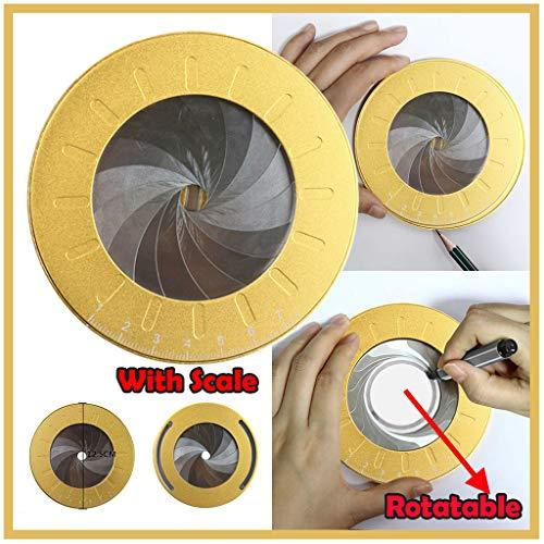Round Circle Geometric Drawing Plotter - Adjustable Math Compass Ring Ruler - 5 Diameter 360 Degree Precision Gauge - Circular Woodworking Stencil - Aluminum Alloy Drafting Template tool Gold