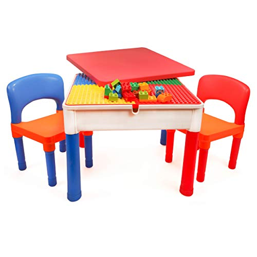 Smart Builder Toys 3 in 1 Activity Table Craft and Construction Play Table with 2 Chairs Removable Cover and Large Storage Area Can be Used for Big and Small Building Bricks Primary Colors