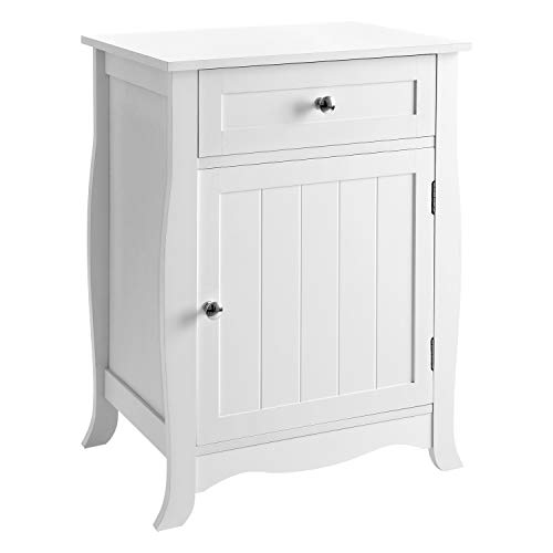 SONGMICS White Nightstand End Table with Storage Cabinet and Drawer Wooden Bedside Table Large Capacity Easy to Assemble