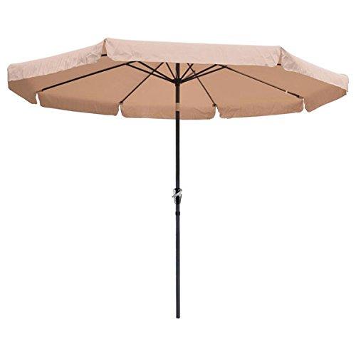 10ft Tan Sunshade Umbrella Metal Pole Outdoor Garden Yard Patio Beach Market Cafe 10