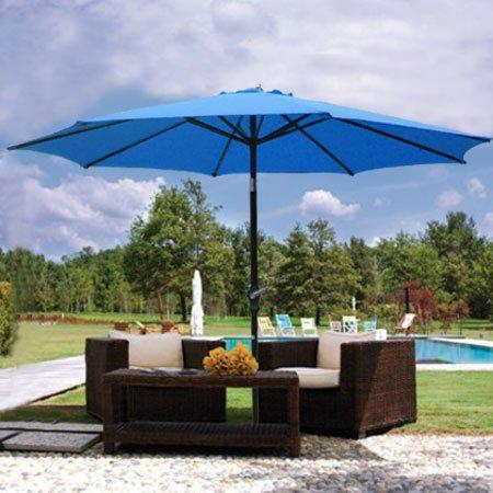 9ft Blue Sunshade Umbrella Metal Pole Outdoor Garden Yard Patio Beach Market Cafe 9