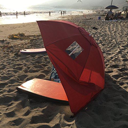 Apontusreg Portable Beach Weather Shelter Umbrella Sand Sun Shade Outdoor Uv Red