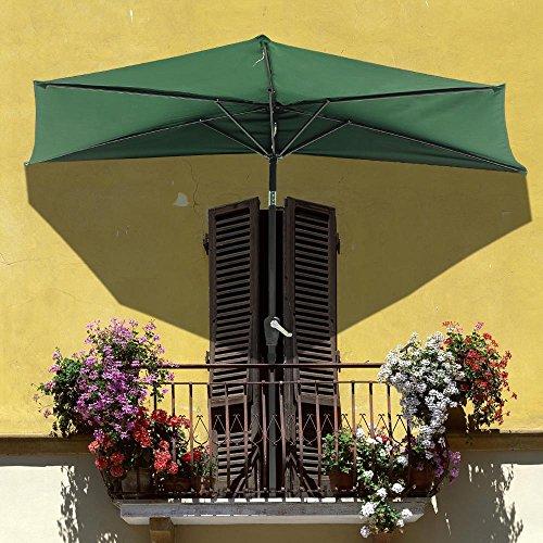 Yescom 9ft Green Outdoor Patio Half Umbrella Cafe Wall Balcony Door 5 Ribs Tilt Aluminum Sun Shade