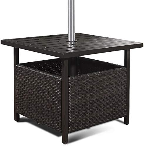 SPSUPE Brown Patio Rattan Umbrella Side Table Steel Outdoor Furniture with Umbrella Hole Deck Garden Pool Umbrella Side Table