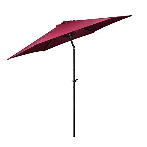 Flexzion Patio Umbrella 10 Feet - Portable Aluminum Outdoor Table Desk Umbrella Furniture with Hexagon Shape Polyester Cover 6 Steel Ribs Wind Vent for Market Beach Garden Backyard Pool Sunshine Red