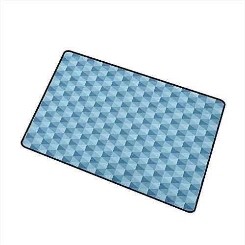 Wang Hai Chuan Geometric Front Door mat Carpet Hexagonal Pattern with Triangles Blue Colored Composition Umbrella Shapes Machine Washable Door mat W197 x L315 Inch Blue Pale Blue