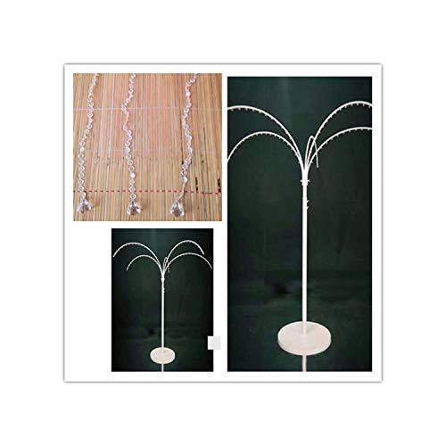 Wedding Arch Iron Crystal Tree Fake Flower Hanging Umbrella Shape Iron Frame Decoration Background Decoration Wishing TreeWhite with Beads