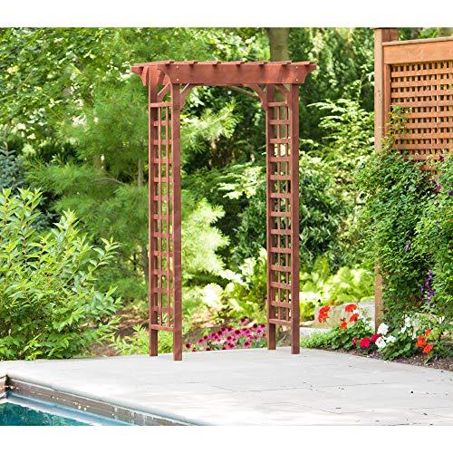 Leisure Season WA6204 Wooden Garden Trellis - Brown - 1 Piece - Arbor with Double Lattice Panels for Climbing Plants - Wedding Arch for Walkway Patio Outdoor - Rustic Backyard Decor - Cedar Wood