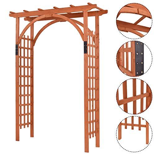 Nightcore Wooden Garden Trellis Pergola 85 inch Arbor Wedding Arches for Ceremony Wood Color