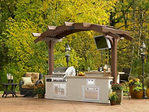 The Outdoor GreatRoom Company Mocha Wood Arbor 12 x 6 Pergola Kit with Lattice Roof