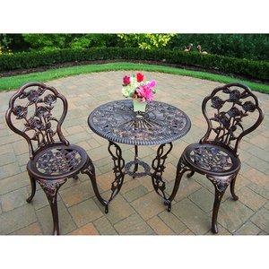 Bistro Set Outdoor Patio Furniture 3 Piece Rose Pattern Brown Antique Bronze Finish Cast Ironamp Aluminum
