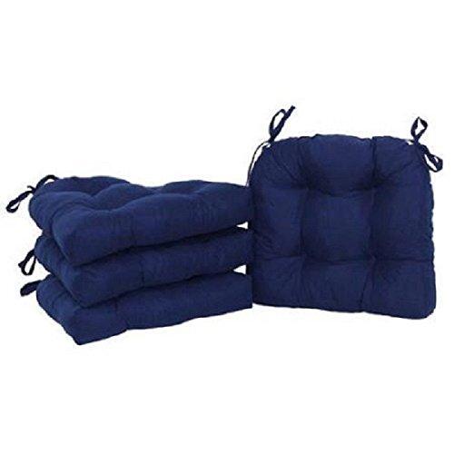 Microfiber Faux Suede Chair Cushion Pillow Top Patio Reversible Deck 4 Blue Pad po455k5u 7rk-b28789