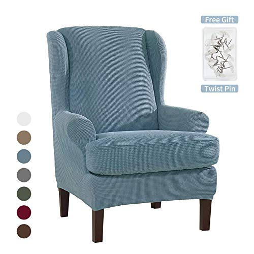 MLADEN 2-Piece Wingback Chair Slipcover Stretch Jacquard Spandex Wing Chair Covers for Living RoomLight Blue