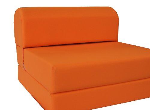 D&D Futon Furniture Orange Sleeper Chair Folding Foam Bed Sized 6 X 32 X 70 Studio Guest Foldable Chair Beds Foam Sofa Couch High Density Foam 18 lbs