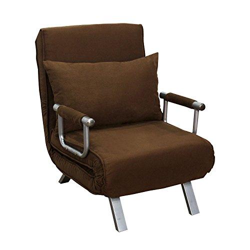 HomCom Steel Folding 3 Position Convertible Single Sleeper Bed Chair- Rich Brown