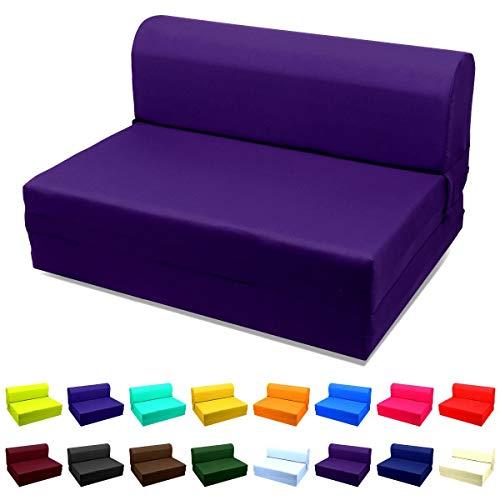 Magshion Futon Furniture Sleeper Chair Folding Foam Bed Choose Color Sized SingleTwin or Full Single 5x23x70 Purple