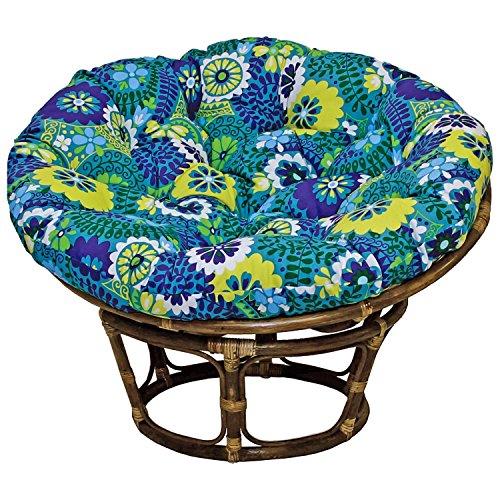 42-inch Bali Rattan Papasan Chair With Cushion - Print Outdoor Fabric Luxury Azure