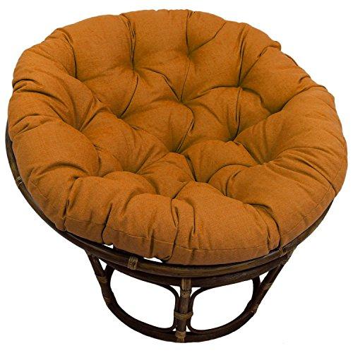 42-inch Bali Rattan Papasan Chair With Cushion - Solid Outdoor Fabric Tangerine Dream