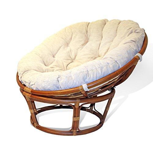 Handmade Rattan Wicker Round Papasan Chair with Cushion Colonial Light Brown