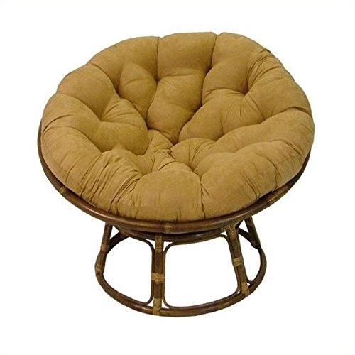 International Caravan Papasan 42&quot Rattan Chair With Cushion - Red Wine