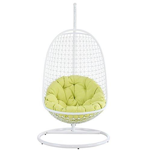 Wicker Rattan Swing Bed Chair Weaved Egg Shape Hanging Hammock Outdoor Patio-whitelime