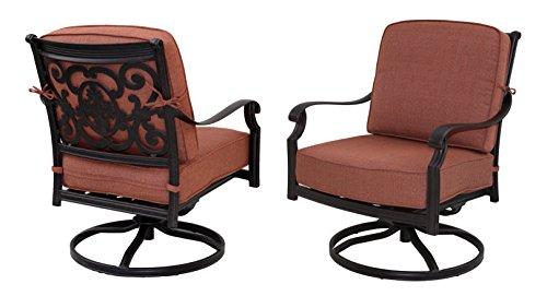 Darlee St Cruz Cast Aluminum Swivel Rocker Club Chair With Seat And Back Cushion Set Of 2 Antique Bronze Finish