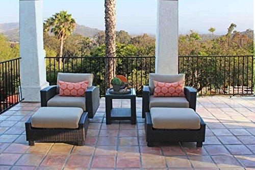 Duxbury 5 Piece All Weather Wicker Swivel Club Chair Set Half Round Brown Wicker with 5 Thick Sunbrella Cushions Measures 35w X 366d X 29h Sunbrella Heather Beige