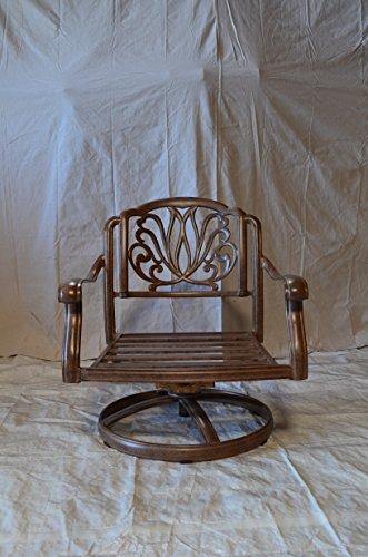 Elizabeth Swivel Rocker Club Chair Solid Cast Aluminum Mocha Color Set Of 4 Walnut Cushions