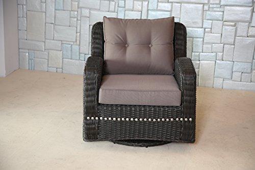 Mishka Collection Ww0168 Wicker Swivel Club Chair With Cushion Brown