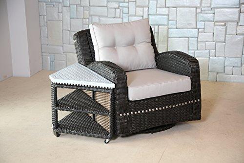 Mishka Collection Ww0174 Wicker Swivel Club Chair With Cushion Brown