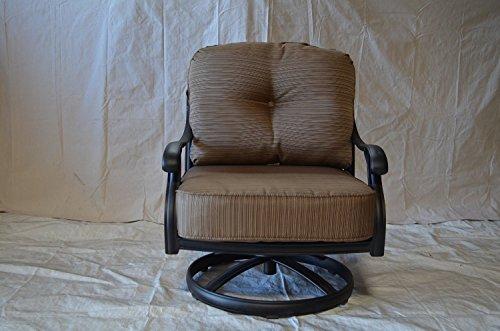 Nassau Cast Aluminum Powder Coated 2 Swivel Rocker Club Chairs With Walnut Seat Cushions - Antique Bronze