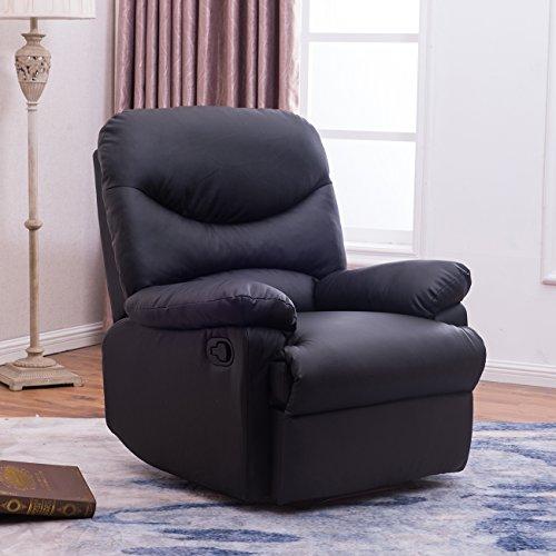BELLEZE Black Leather Recliner Chair Padded Seat Armrest wFootrest Black