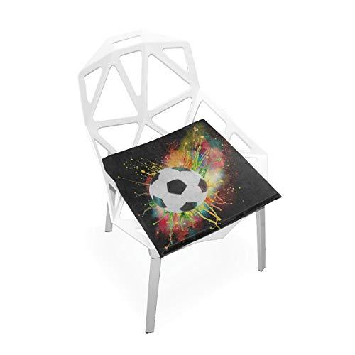DERTYV Premium Comfort Memory Foam Seat CushionsWatercolor Sport Ball Football Soccer Chair Pads for Truck DriverKitchen ChairsCarOffice