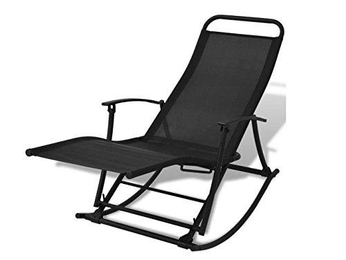 Foldable Garden Rocking Chair Black Garden Relax Comfortable Durable Steel Frame  textilene Fabric 59 x 252 x 327 SKB Family