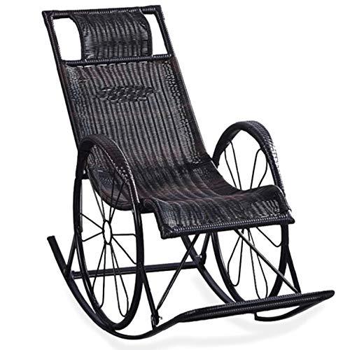 MHFKF Balcony Lounge Chair Rocking Chair Nap Lounge Chair Living Room Chair Elderly Chair Leisure Rattan Rocking Chair Double Wheel Outdoor Chair