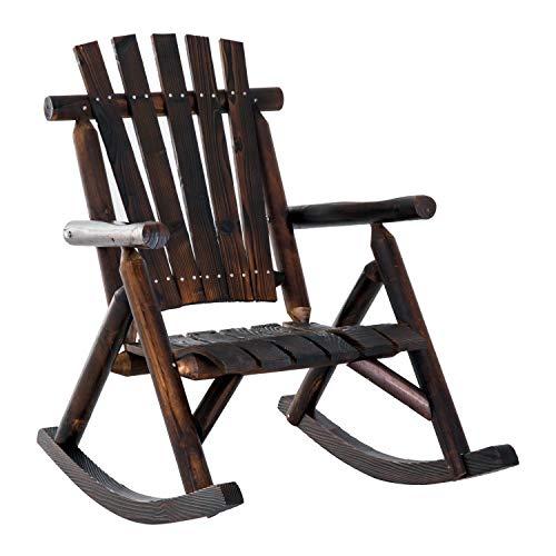 Tidyard Rustic Rocking Chair Wooden Porch Rocker Adirondack Fir Wood Leisure Reclining Chair for Living Room Garden Patio Indoor Outdoor Furniture 3825 x 255 x 395 Inches D x W x H