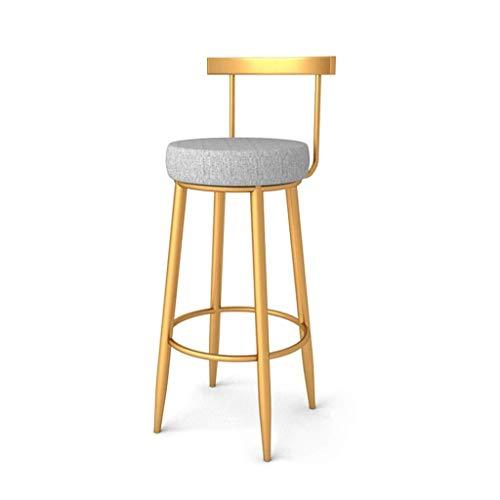 Xinhuatian Furniture backrest high Stool Golden Iron Front Desk Leisure Chair Bedroom Vanity Stool Balcony bar Stool 40 40 96CM Living Room Furniture Chair