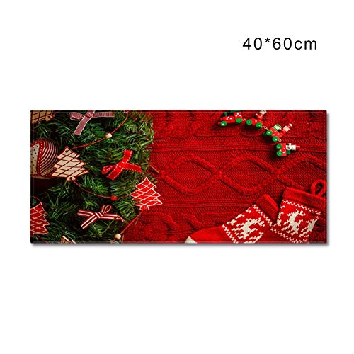 Anpay Christmas Rectangle Area Rug Floor Mat Carpet with Non-Slip Backing Holiday Home Kitchen Living Room Decor SuppliesIndoor Outdoor Waterproof Easy Clean
