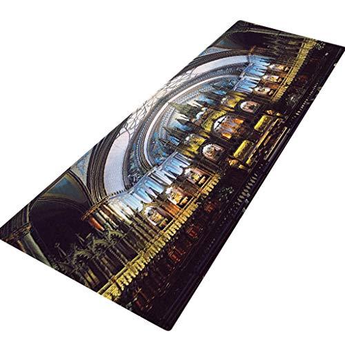 Loveso Flannel Carpet Non-Slip Mat Notre Dame de Paris Pattern Rectangle Area Rug Kitchen Bathroom Mat 40X120CM