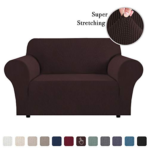Flamingo P Stretch Sofa Slipcover 1 Piece Sofa Covers for 2 Cushion Couch Slipcovers Machine-Washable Sofa Slipcover for Loveseat Jacqaurd Spandex Sofa Slip Cover for Leather 2 Seater Brown